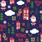 Tecido Tricoline 100% algodão Papai Noel fundo azul - (Natal)