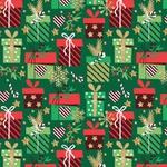 Tecido Tricoline 100% algodão Presentes fundo verde - (Natal)