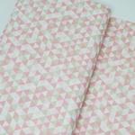 Tecido Tricoline Triângulo - Rosa e bege