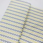 Tecido Tricoline Chevron médio - Amarelo e cinza