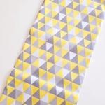 Tecido Tricoline Triângulo - Amarelo e cinza