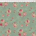 Tecido Tricoline Floral médio fundo verde arabesco - (0,50cm x 1,50mt)
