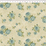 Tecido Tricoline Floral azul médio fundo bege arabesco - (0,50cm x 1,50mt)