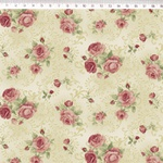 Tecido Tricoline Floral Rosê médio fundo bege arabesco - (0,50cm x 1,50mt)