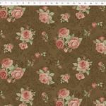 Tecido Tricoline Floral médio fundo marrom arabesco - (0,50cm x 1,50mt)