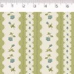 Tecido Tricoline Listrado Verde com Flor - (0,50cm x 1,50mt)