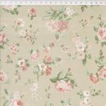 Tecido Tricoline fundo bege Floral Médio Verde e Rosa - (0,50cm x 1,50mt)