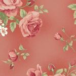 Tecido Tricoline Floral Rosê grande fundo goiaba - (0,50cm x 1,50mt)