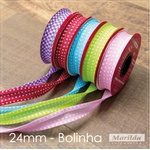 Viés Bolinha Marilda 24mm - Vermelho (rolo com 20 metros)