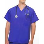 Camisa Scrub - Pijama Cirurgico Unissex Azul Royal em Tecido 100% Algodão