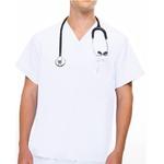 Camisa Scrub - Pijama Cirúrgico Brim Unissex Branco - Algodão