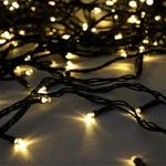 Cordão Natalino LED 100 Lâmpadas Fixo Branco Quente Fio Verde 127V