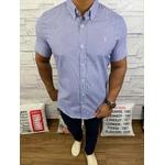 Camisa Manga Curta RL Micro xadrez azul marinho Logo rosa