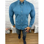 Camisa Social Jeans Tommy Verde Agua