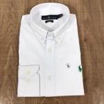 Camisa Manga Longa RL Branco Logo verde