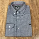Camisa Manga Longa Armani Cinza Escuro⭐