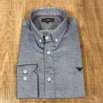 Camisa Manga Longa Armani Cinza Detalhado