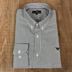 Camisa Manga Longa Armani Listrado Preto