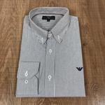 Camisa Manga Longa Armani Listrado Cinza