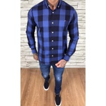 Camisa TH Manga Longa Marinho Xadrez Azul