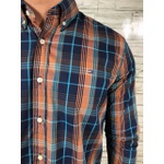 Camisa TH Manga Longa Marinho Xadrez Azul e Laranja