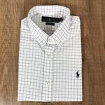 Camisa Manga Curta RL Quadriculado Branco ,logo preto