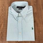 Camisa Manga Curta RL Xadrez verde claro Logo verde escuro