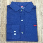 Camisa Manga Longa DG Azul Pontinhos Branco