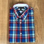 Camisa TH Manga Longa Xadrez Azul e Vermelho