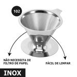 Coador Filtro de Café Pour Over Aço Inox Reutilizável Tam 102