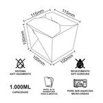 EMBALAGEM BOX ANTIVAZAMENTO BRANCA YAKISOBA COMIDA JAPONESA 1000ML - 50 UNIDADES