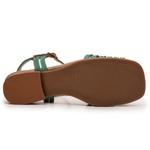 Sandália Feminina Retrô Flat Bora em Couro Legitimo verde chocolate