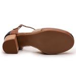 Sandália Feminina Retrô Bahamas em Couro Legítimo Marinho Chocolate Taupe