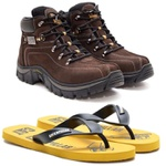 Bota Caterpillar 2113 Café + Chinelo CAT de Borracha Amarelo