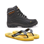 Bota Caterpillar Preto 9820 + Chinelo CAT Borracha Amarelo