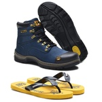 Bota Caterpillar Second Shift Plus 2 Marinho 2189 + Chinelo CAT Borracha Amarelo