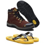 Bota Caterpillar Second Shift Plus 2 Café Nobuck 2189 + Chinelo CAT Borracha Amarelo