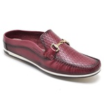 Sapato Mule Em Couro Cor Bordô