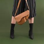 Bolsa Couro Camel Saddle Bag Parker