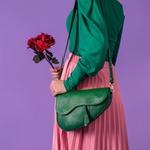 Bolsa Couro Verde Bandeira Saddle Bag Parker