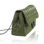 Bolsa Maria Couro Matelassê Verde Militar