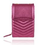 Bolsa Léli Couro Rosa Pink Metalizado