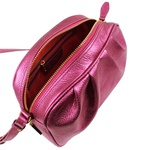 Bolsa Tiracolo Cátia Couro Pink Metalizado Drapeado