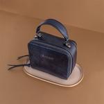 Bolsa Couro Azul Marinho Metalizado Mendel's