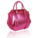 Bolsa Tiracolo Baú Geométrico de Couro Pink Metalizado Lady
