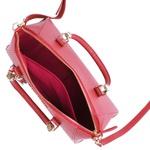 Bolsa Lady Baú Geométrico de Couro Vermelho