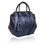 Bolsa Tiracolo Baú Geométrico de Couro Azul Marinho Metalizado Lady