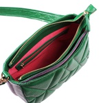 Bolsa Tiracolo de Couro Dayana Verde Bandeira Matelassê