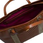 Bolsa Adrien Shopping Bag Marrom de Couro com Detalhe Gorgurão