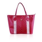 Bolsa Adrien Shopping Bag Vermelha de Couro com Detalhe em Gorgurão
